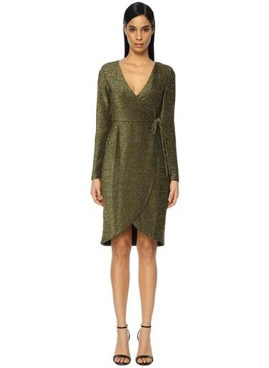 V Yaka Mini Anvelop Elbise-Glamorous